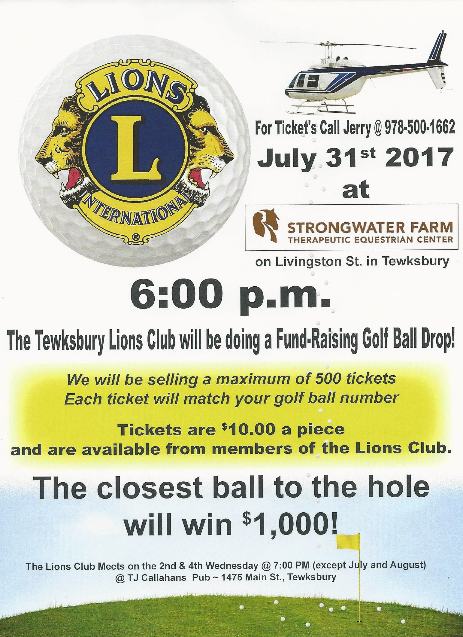 Tewksbury Lions Club Golf Ball Drop