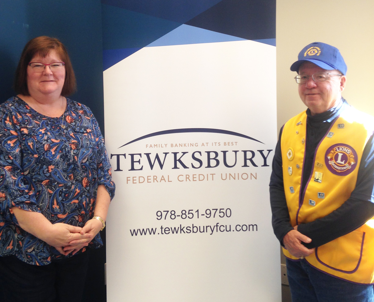 Tewksbury Lions representative Jerry Selissen at right is Maureen Montecalvo, CEO of Tewksbury Federal Credit Union, a corporate sponsor of the club.